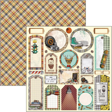 "Ciao Bella Double-Sided Cardstock 90lb 12""X12"" - Tags, Hipster CBSS114"