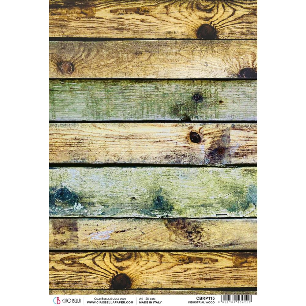 Ciao Bella Rice Paper Sheet A4 - Industrial Wood, Modern Times CBRP115