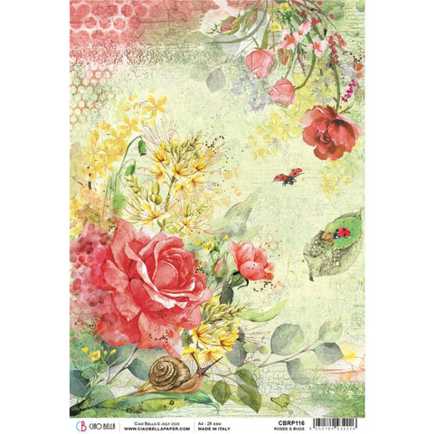 Ciao Bella Rice Paper Sheet A4 - Roses & Bugs, Microcosmos CBRP116