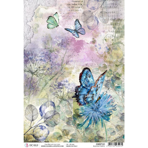 Ciao Bella Rice Paper Sheet A4  - Blue Butterfly, Microcosmos CBRP121
