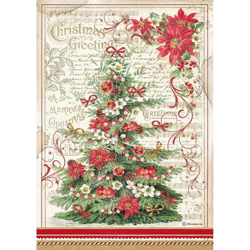 Stamperia Rice Paper Sheet A4 - Greetings Tree, Classic Christmas DFSA4476