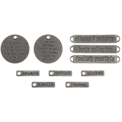 Idea-Ology Metal Adornments 10/Pkg - Antique Silver Halloween Words 94063
