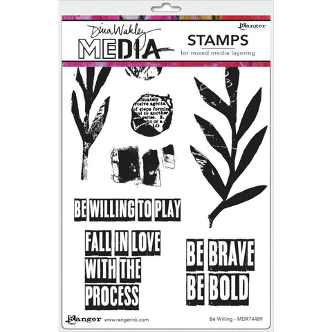 "Dina Wakley Media Cling Stamps 6""X9"" - Be Willing 74489"