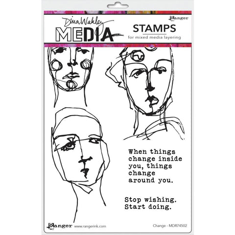 "Dina Wakley Media Cling Stamps 6""X9"" - Change 74502"