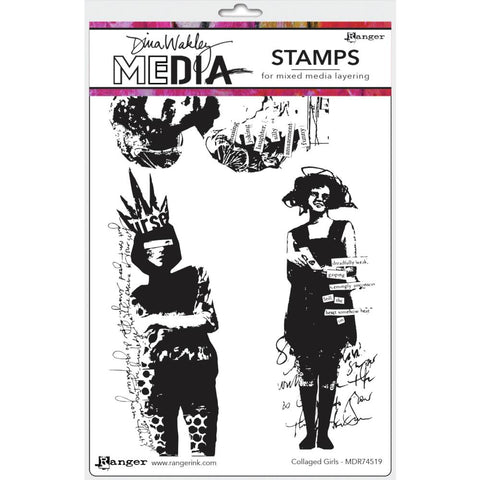"Dina Wakley Media Cling Stamps 6""X9"" - Collaged Girls 74519"