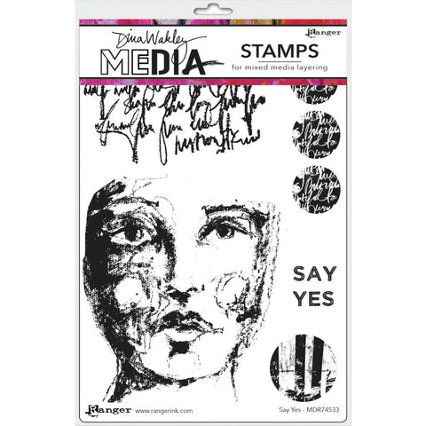"Dina Wakley Media Cling Stamps 6""X9"" - Say Yes 74533"