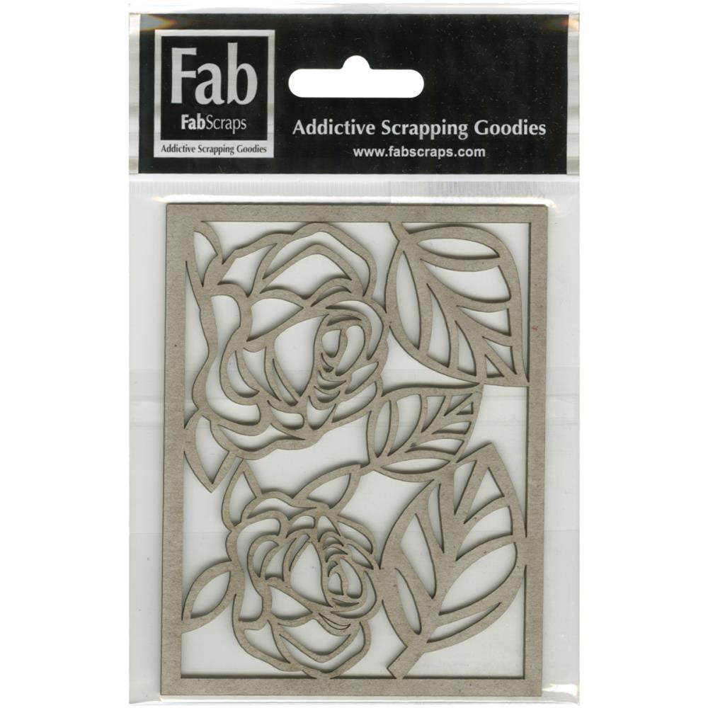 "FabScraps Vintage Elegance Die-Cut Gray Chipboard Shape - 2 Roses & 3 Leaves, 4.25""X3.25"" Frame"