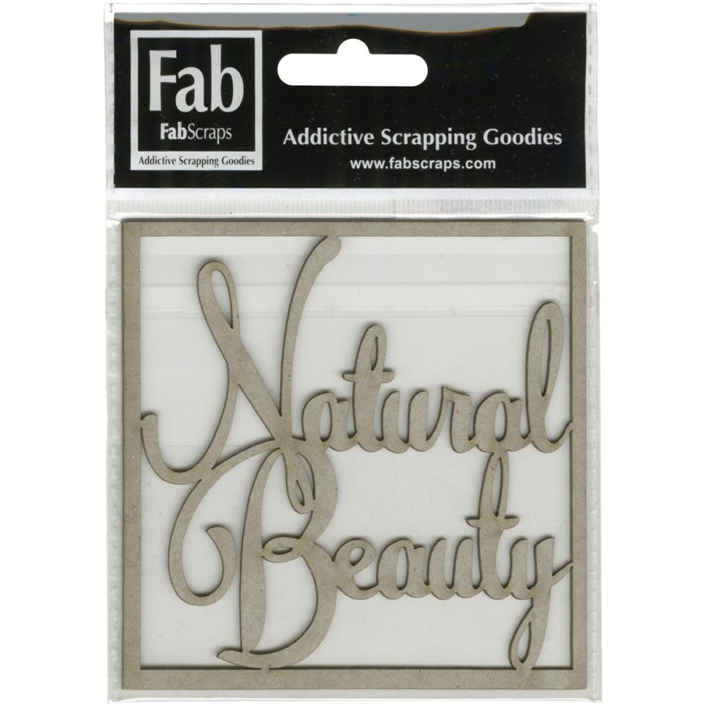 "FabScraps Mother Earth Die-Cut Gray Chipboard Word - Natural Beauty 3.3""X3.3"""