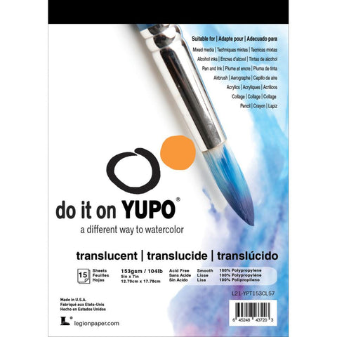 "Yupo Paper 5""X7"" 15 Sheets/Pkg - Translucent 104lb contains 15 sheets CL57"