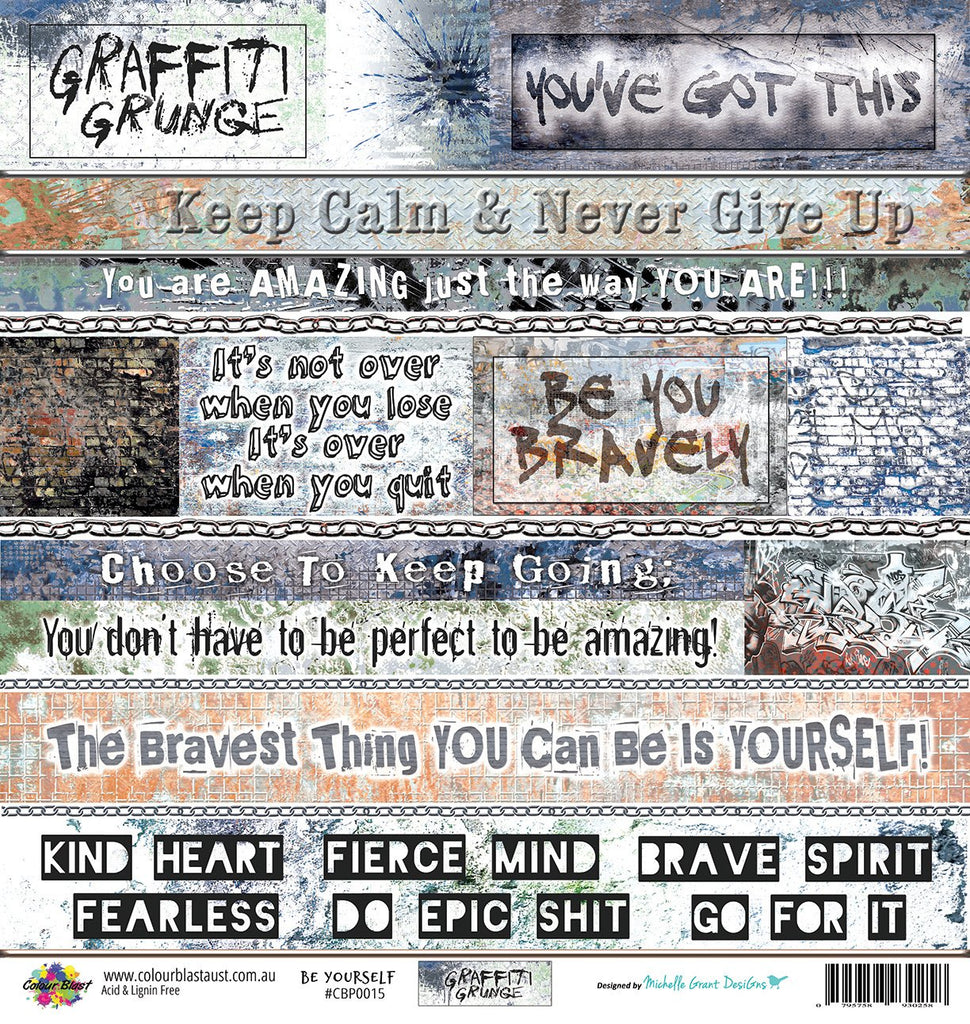 "Bee Arty - Be Yourself - 12""x12"" Scrapbooking Paper - Word Sheet"