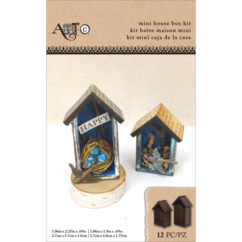 "Art-C Masonite Mini House Box Kit Makes 2 -1.06""X2.25""X.69"" & 1.06""X1.9""X.69"""