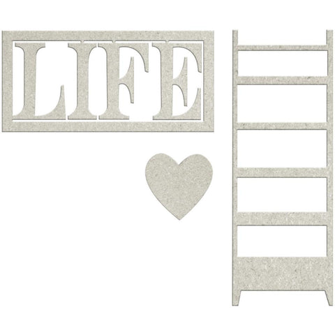"FabScraps Lavender Breeze Die-Cut Gray Chipboard Word - Life W/Heart & Ladder 2.5""X1"""
