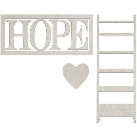 "FabScraps Lavender Breeze Die-Cut Gray Chipboard Word - Hope W/Heart & Ladder 2.5""X1"""