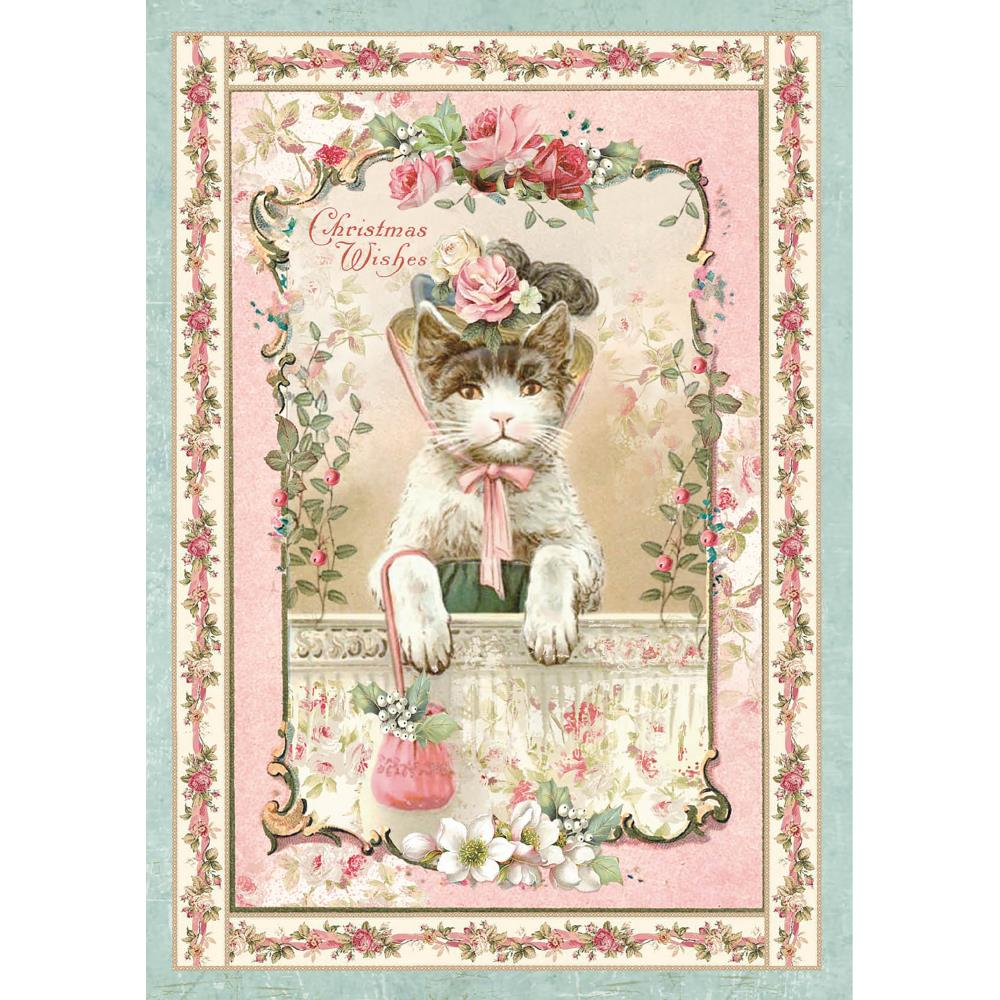Stamperia Rice Paper Sheet A4 - Pink Christmas Kitten DFSA4312
