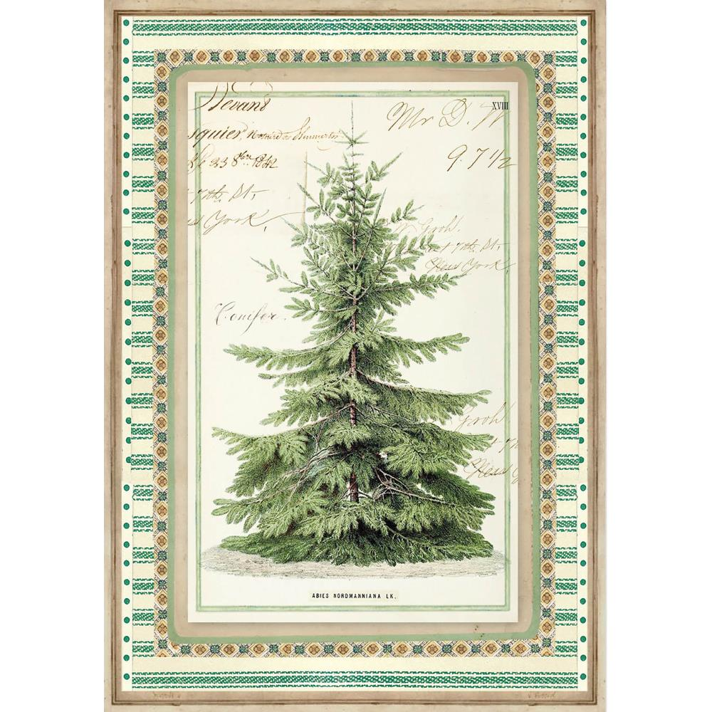 Stamperia Rice Paper Sheet A4 Winter Botanic Christmas Tree DFSA4327