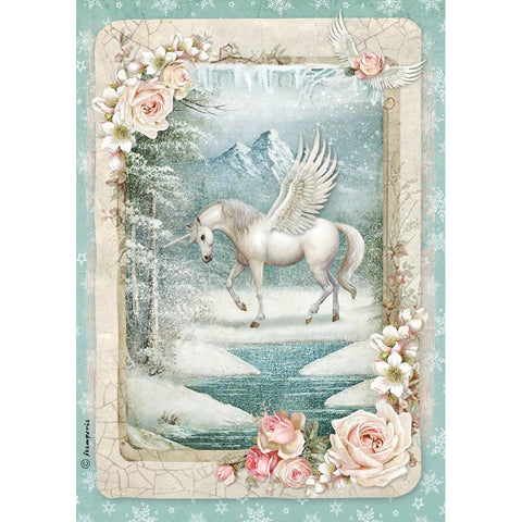 Stamperia Rice Paper Sheet A4 - Unicorn DFSA4346