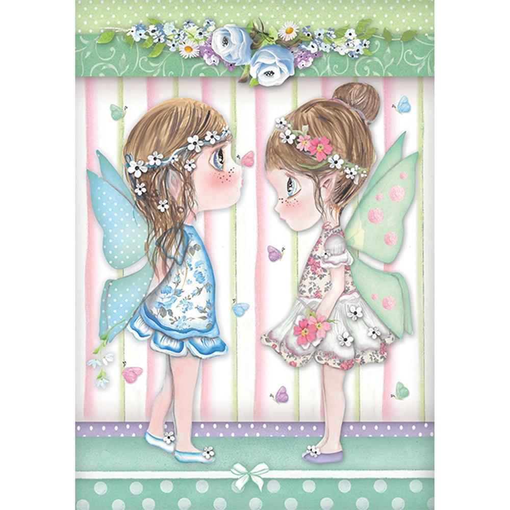 Stamperia Rice Paper Sheet A4 - Fairies W/Butterflies DFSA4413