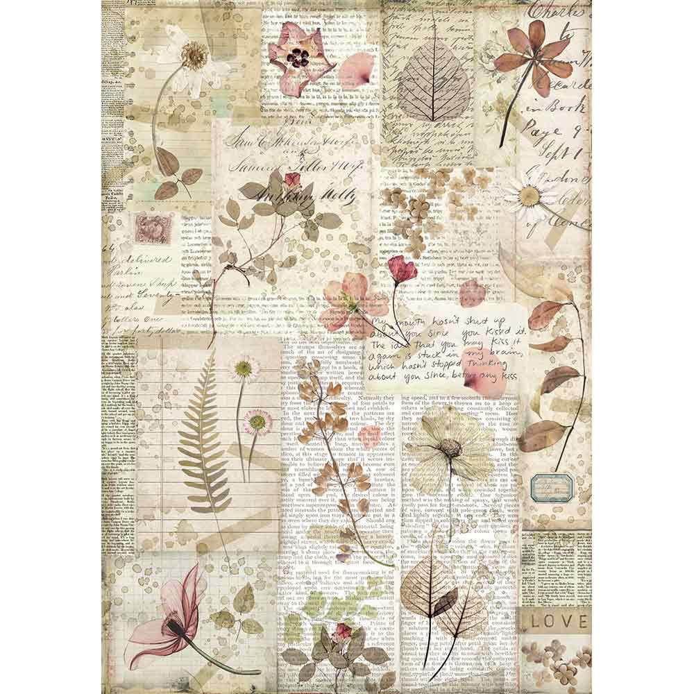 Stamperia Rice Paper Sheet A4 -Pressed Flowers  DFSA4440