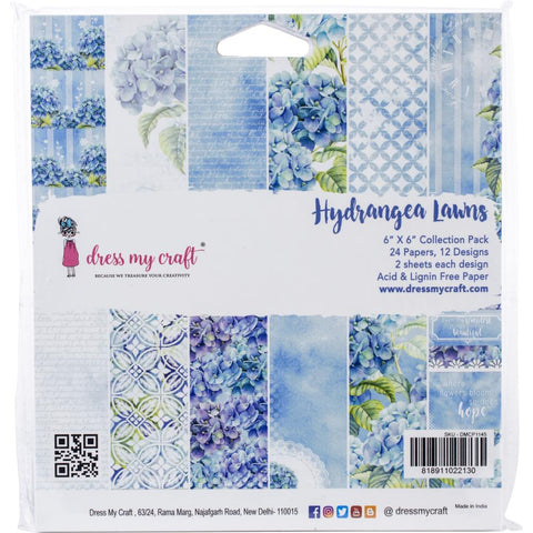 "Dress My Crafts Single-Sided Paper Pad 6""X6"" 24/Pkg - Hydrangea Lawns, 12 Designs/2 Each DMCP1145"