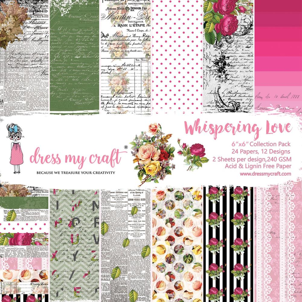"Dress My Craft Single-Sided Paper Pad 6""X6"" 24/Pkg - Whispering Love DMCP2443"