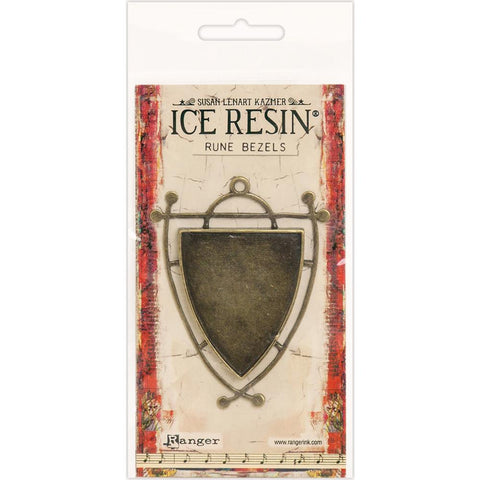 Ice Resin Rune Bezel Shield Antique Bronze 59875