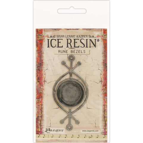 Ice Resin Rune Bezel Round Antique Silver 59882
