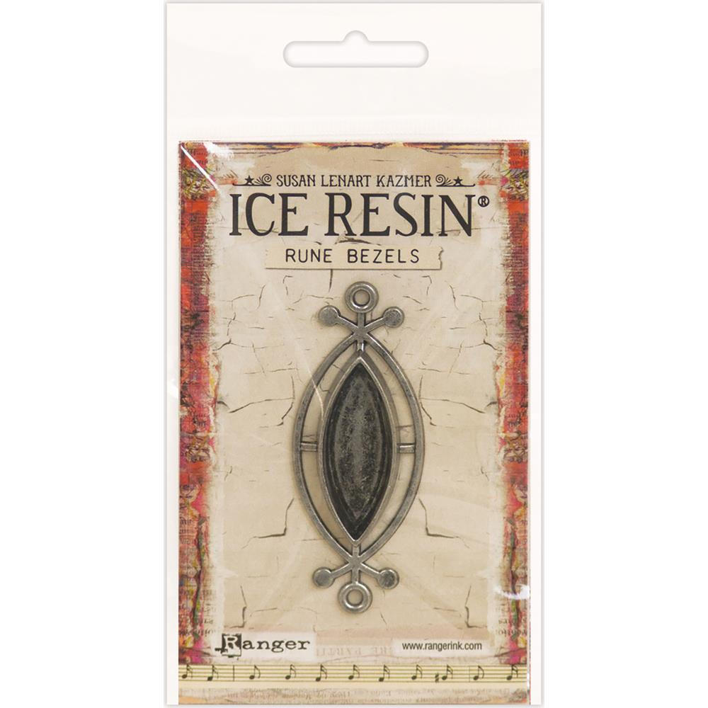Ice Resin Rune Bezel Small Ellipse Antique Silver 59929