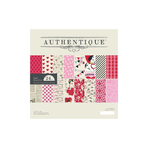"Authentique Double-Sided Cardstock Pad 8""X8"" 24/Pkg - Love Notes"