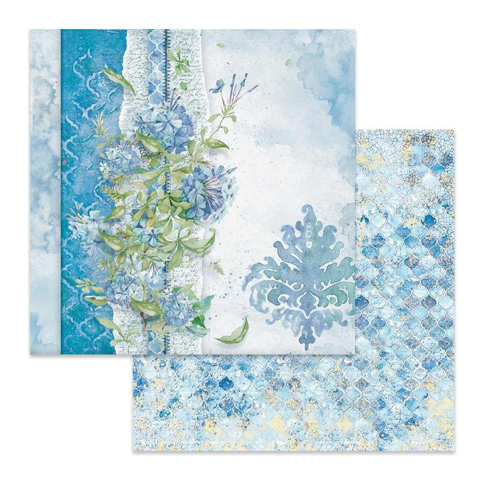 "Stamperia Double-Sided Cardstock 12""X12"" - Flowers For You On Light Blue Background SBB646"
