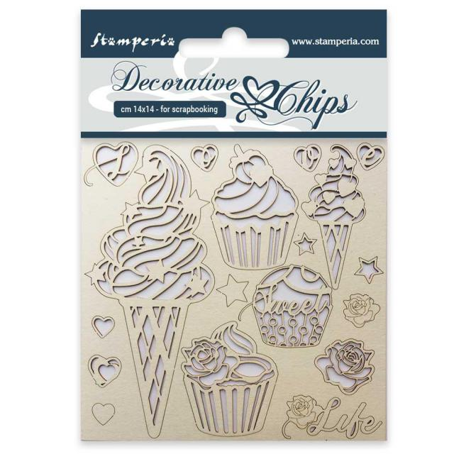 Stamperia - DECORATIVE CHIPS CM. 14X14 ICE CREAM SCB14