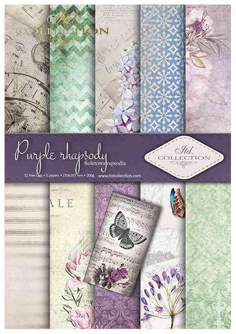 ITD Collection - . Scrapbooking paper SCRAP-013 '' Purple rhapsody '' A4