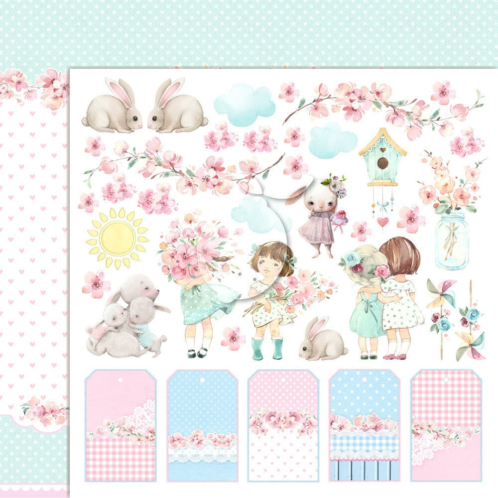 LEMONCRAFT - GIRL'S LITTLE WORLD 04 - DOUBLE-SIDED SCRAPBOOKING PAPER - LEMONCRAFT