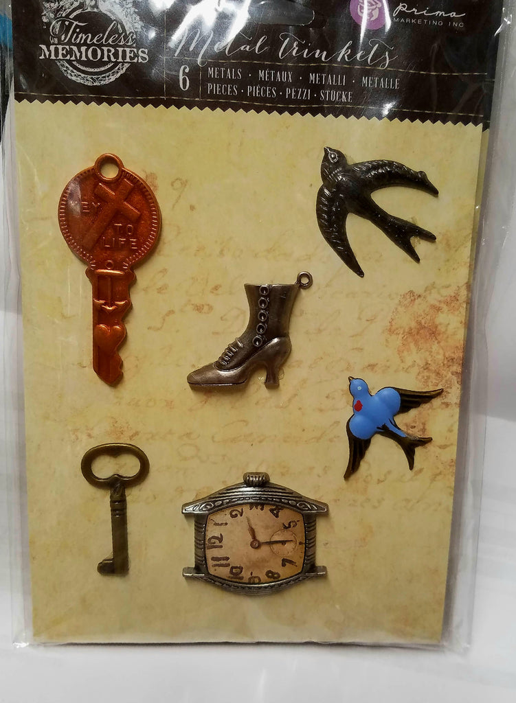 Prima Timeless Memories Metal Embellishments Remembrance 6/Pkg