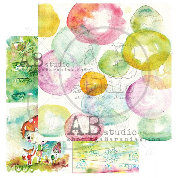"ABstudio Scrapbooking paper ""Magic whispers of fairytales""- sheet 3 Bubbles make me happy"
