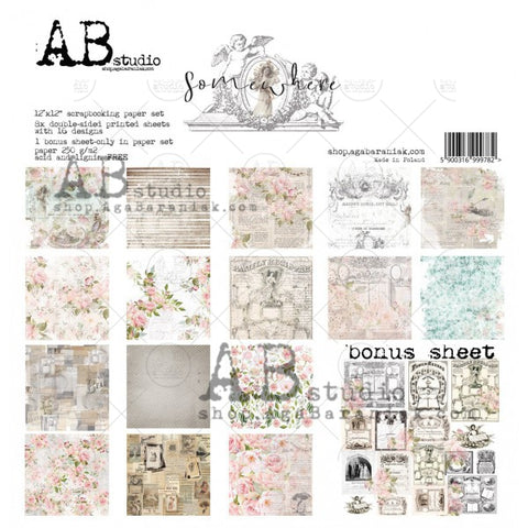 "ABstudio ""Somewhere""- scrapbooking paper set 8x 12'x12' + bonus"