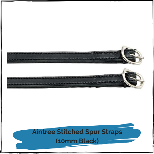 Aintree Stitched Spur Straps - 10mm Black