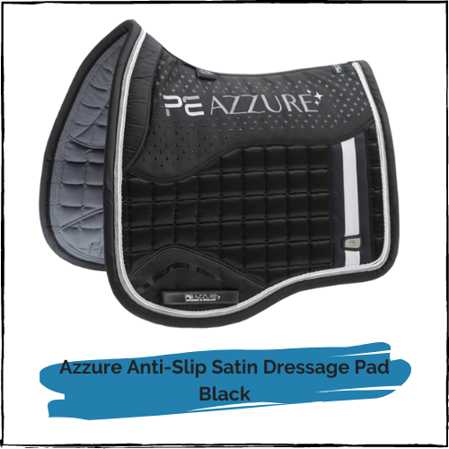 Azzure Anti-Slip Satin Dressage Pad - Black