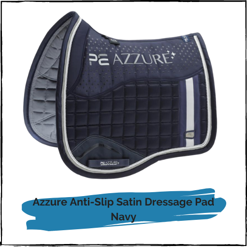Azzure Anti-Slip Satin Dressage Pad - Navy