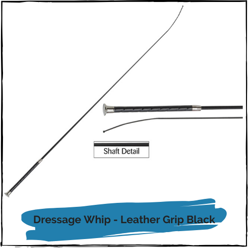Dressage Whip - Leather Grip Black