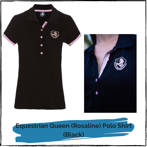 "Equestrian Queen Polo Shirt ""Rosaline"" Black"