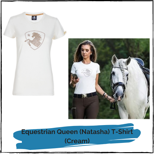 "Equestrian Queen T Shirt ""Natasha"" Cream"