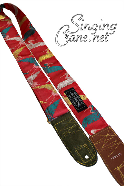 Singing Crane - Beautiful guitar strap - SC105115 : Akatsuru-original [only available on Reverb]
