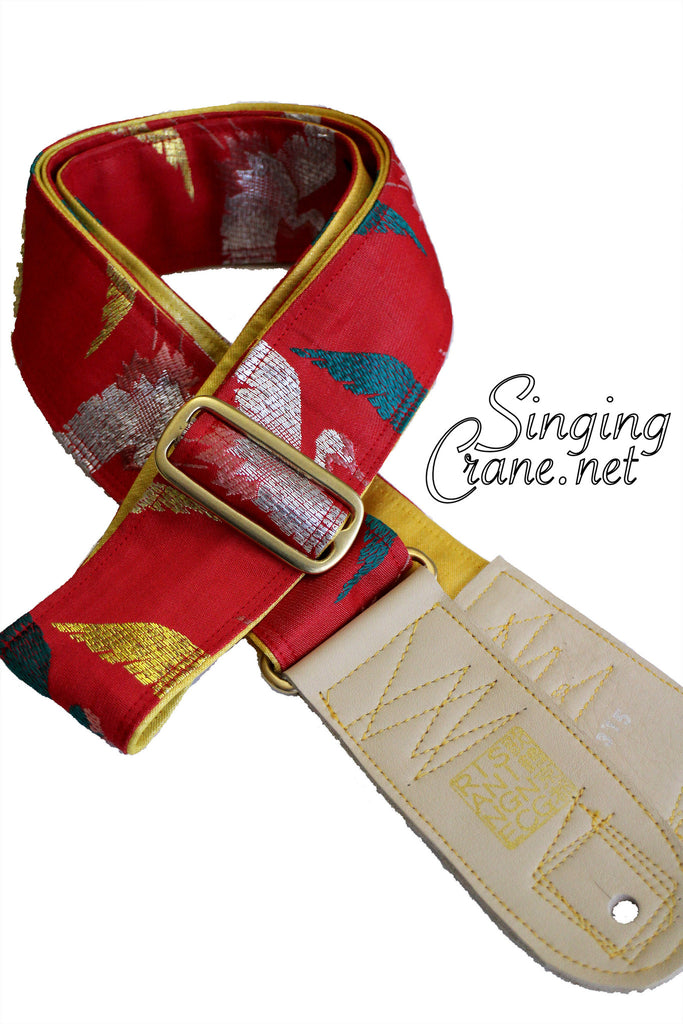 Singing Crane - Beautiful guitar strap - SC105315 : Akatsuru-yellow