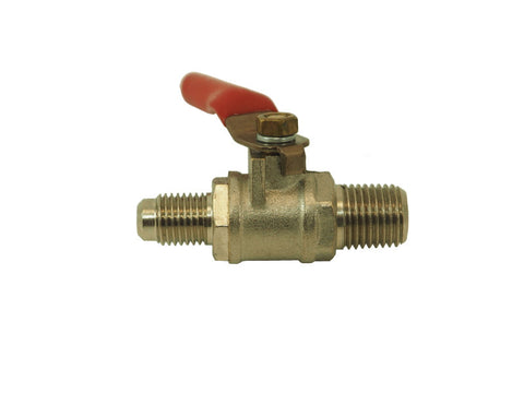 "Ball Valve- 1/4"" MPT X 1/4"" Flare w/ check valve - Doc's Cellar"