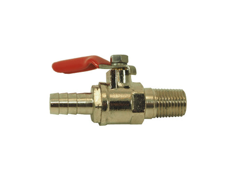 "Ball Valve- 1/4"" MPT X 3/8"" Barb w/ check valve - Doc's Cellar"