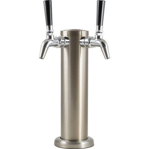Stainless Draft Tower with Stainless Faucet, Double Tap - Doc's Cellar