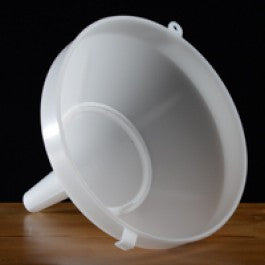 "Funnel - 8"" White Plastic with screen - Doc's Cellar"