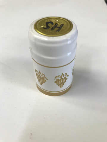 Capsules, Heat Shrink, White/Gold - Doc's Cellar