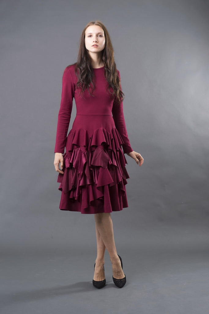 FINAL SALE Ruffled Ponte Dress with Satin Belt (more colors available)