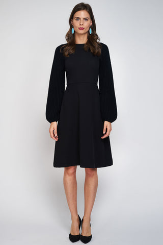 FINAL SALE Sweater Sleeve Crepe Dress - Black